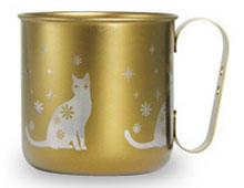 マグカップ ネコ(チタンゴールド)