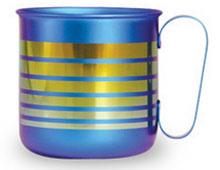 チタンデザインマグカップ ボーダーL(ブルー)