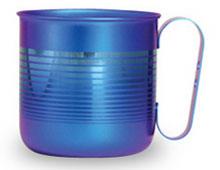 純チタンデザインマグカップ ボーダーS(ブルー)