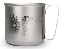 マグカップ 菊(チタンシルバー)