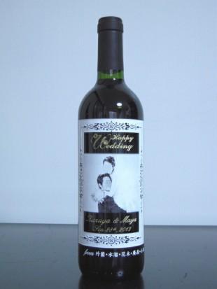結婚祝いの写真彫りワイン