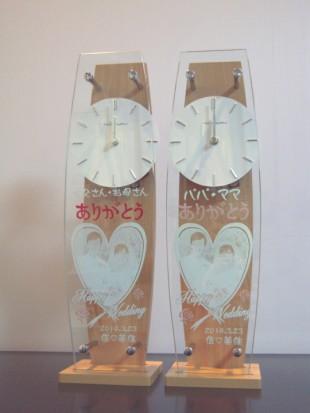 写真をハートで囲んだ時計