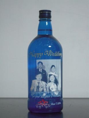 結婚式の写真を使った焼酎